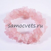 Браслет из крошки Розового кварца на резинке