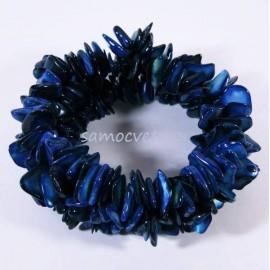 Браслет из крошки Перламутра Синий на резинке