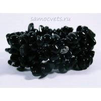 Браслет Чёрного агата на резинке