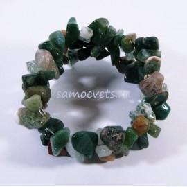 Зелёная Яшма - Браслет спиралька 2 витка крупная крошка