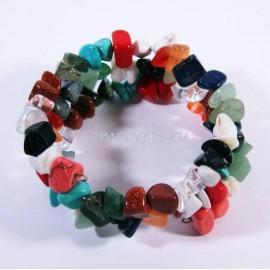 Самоцветы - Браслет спиралька 2 витка крупная крошка