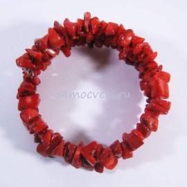 Браслет - Коралл тонированный спиралька 2 витка крупная крошка