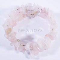 Розовый кварц - Браслет спиралька 2 витка крупная крошка