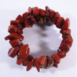 Красная Яшма - Браслет спиралька 2 витка крупная крошка