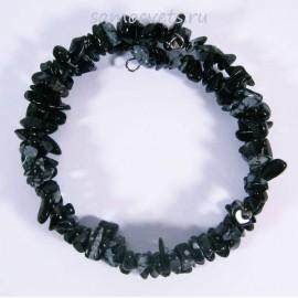 Браслет Обсидиан спиралька мелкая крошка