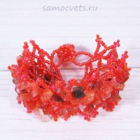 Плетенный браслет сердолик и бисер