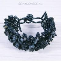Плетенный браслет обсидиан и бисер