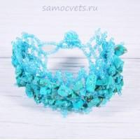 Плетенный браслет голубая бирюза искусств. и бисер