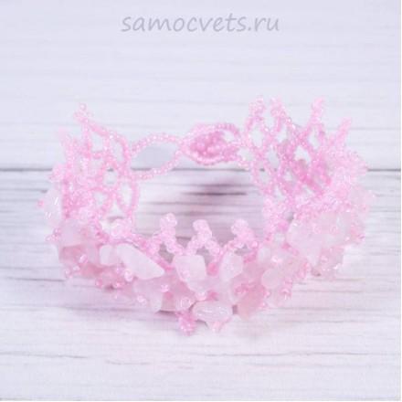 Плетенный браслет розовый кварц и бисер