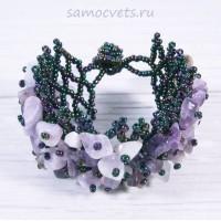 Плетенный браслет аметист и бисер
