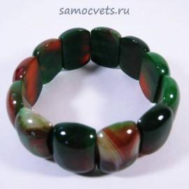 Браслет из Агата Оранжево - Зелёный Империя камня