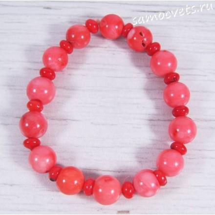 Браслет из Тонированного Коралла Риф - Розовый