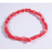 Браслет коралл тонированный розовый