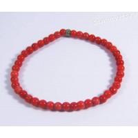 Браслет красный тонированный коралл 4-5 мм