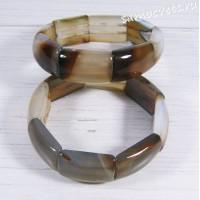 Браслет из серо-коричневого агата Амуре