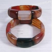 Браслет из черно-оранжевого агата Амуре