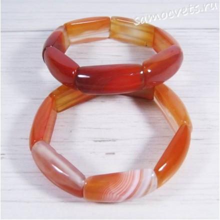 Браслет из сердолика (оранжевый агата) Амуре