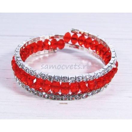 Браслет спиралька 3 ряда стразы и хрусталь - красный