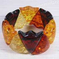 Браслет разноцветный имитация янтаря большие треугольники