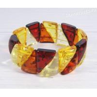 Браслет разноцветный имитация янтаря треугольники