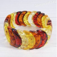 Браслет разноцветный - имитация янтаря