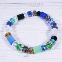 Разноцветный браслет Кошачий глаз искусств. и хрусталь