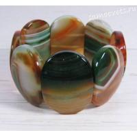 Браслет зелёно - оранжевый агат Суюнгель