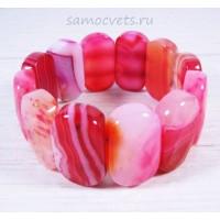 Браслет Красно - Розовый Агат Царевна