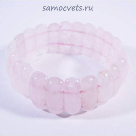 Браслет сегменты банан - Розовый кварц - 2
