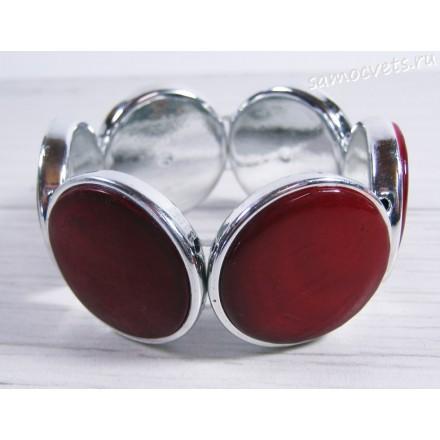 Браслет из перламутра круг 35 мм - Малиновый