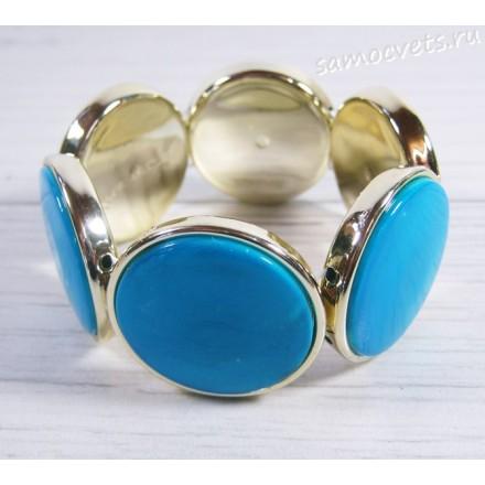 Браслет из перламутра круг 35 мм - Голубой