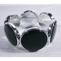 Браслет из перламутра круг 35 мм - Чёрный