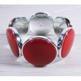 Браслет из перламутра круг 35 мм - красный
