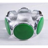 Браслет из перламутра круг 35 мм - зелёный