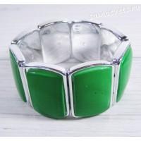 Браслет из перламутра прямоугольник 30 мм - зелёный