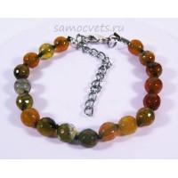 Браслет из Зеленовато Оранжевого Агата огран. Радуга самоцветов 8