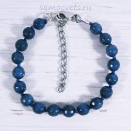 Браслет Лазуритого - Синий  Агат огран. Радуга самоцветов 8