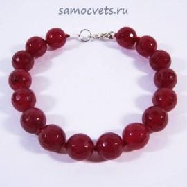 Браслет Красный (Рубиновый) Агат огран. Радуга самоцветов10 мм