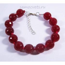 Браслет Рубиново Красный Агат огран. Радуга самоцветов12 мм