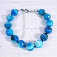 Браслет Сине - Голубой Агат огран. Радуга самоцветов12 мм
