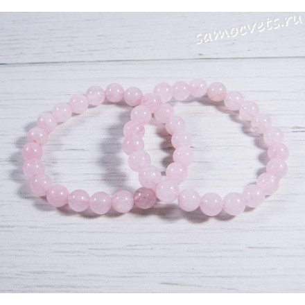 Браслет на резинке розовый кварц шар 8 мм