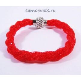 Красный Браслет Кристаллы в сетке на магнитном замке
