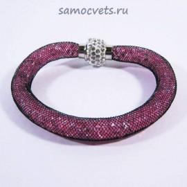 Тёмно - Розовый Браслет Кристаллы в сетке на магнитном замке