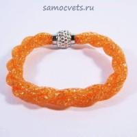 Ярко - Оранжевый Браслет Кристаллы в сетке на магнитном замке