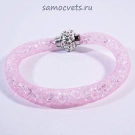 Розовый Браслет Кристаллы в сетке на магнитном замке