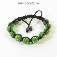 Браслет c Кристаллами плетеный Зелёный 2
