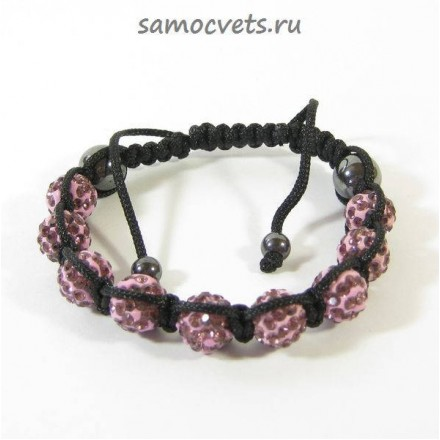 Браслет c Кристаллами плетеный Розовый