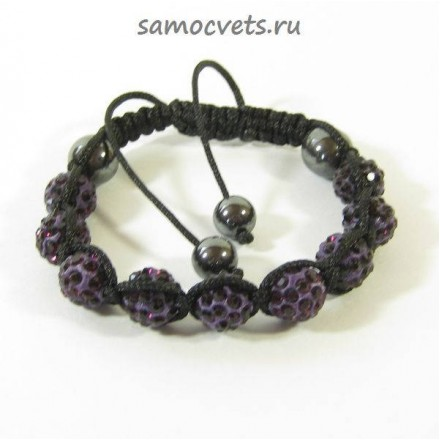 Браслет c Кристаллами плетеный Фиолетовый