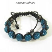 Браслет c Кристаллами плетеный Синий 1