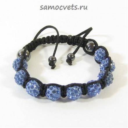 Браслет c Кристаллами плетеный Синий 2